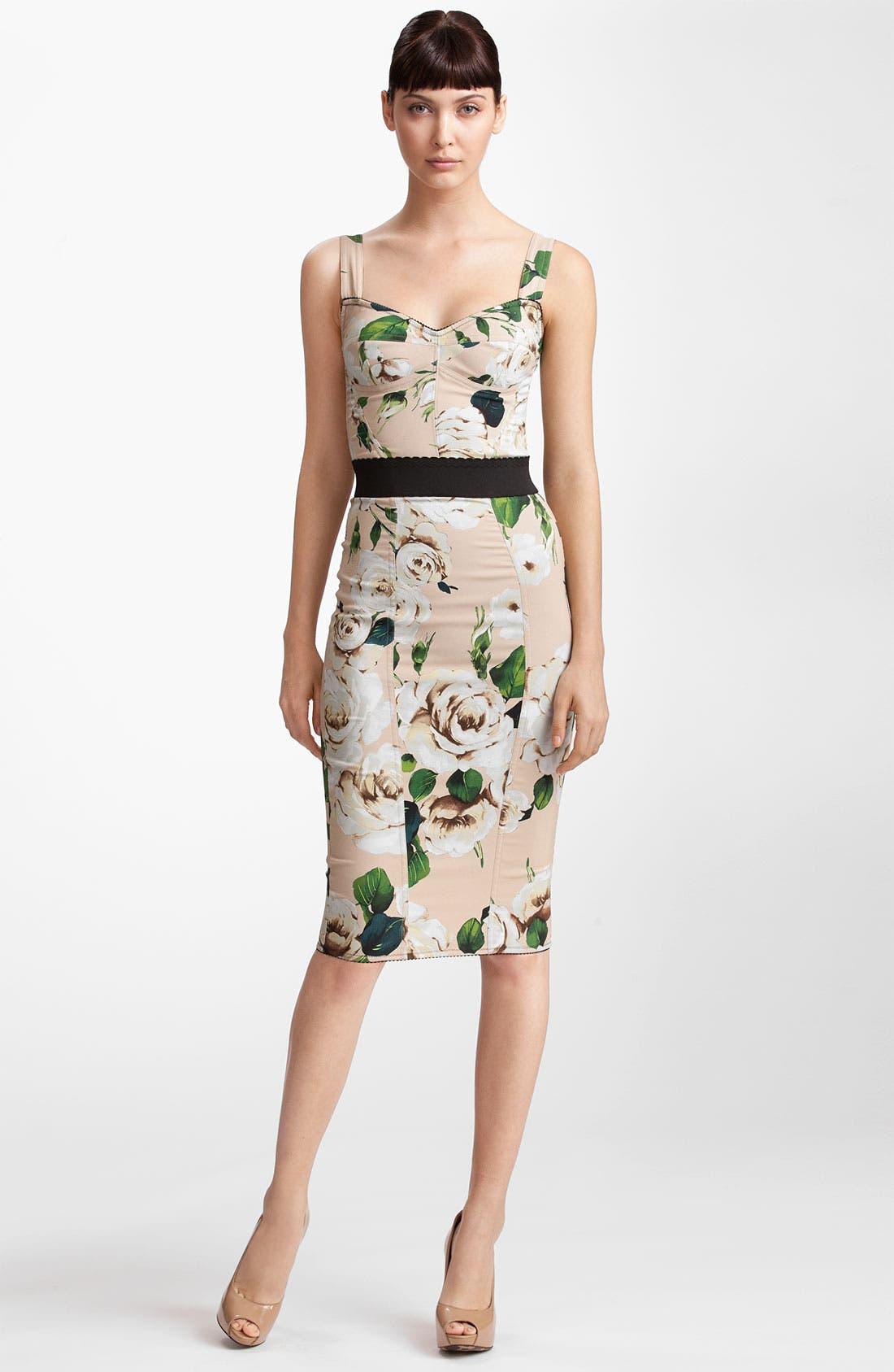Main Image - Dolce&Gabbana Rose Print Stretch Cady Dress