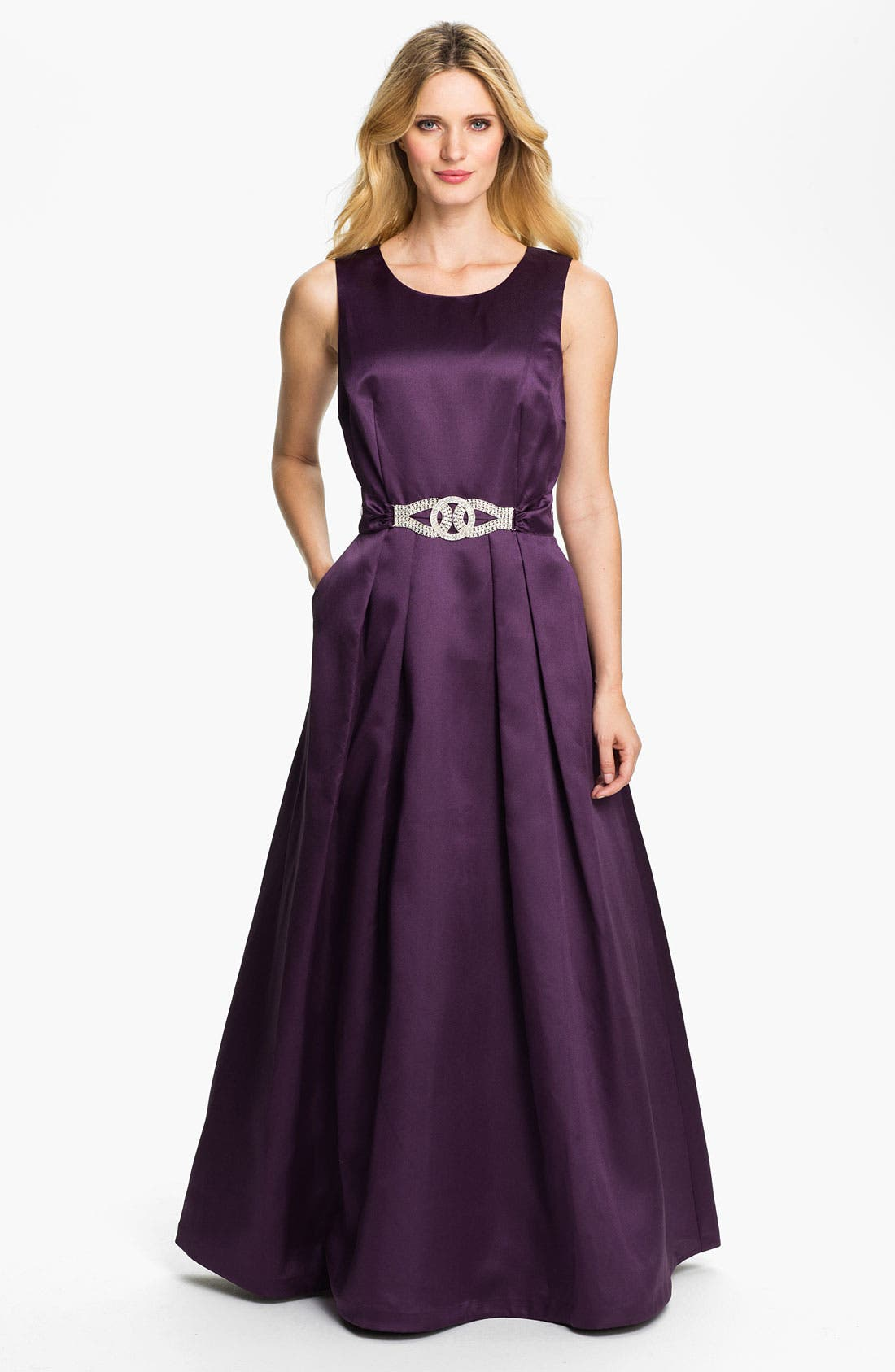Main Image - Alex Evenings Rhinestone Buckle Faille A-Line Gown