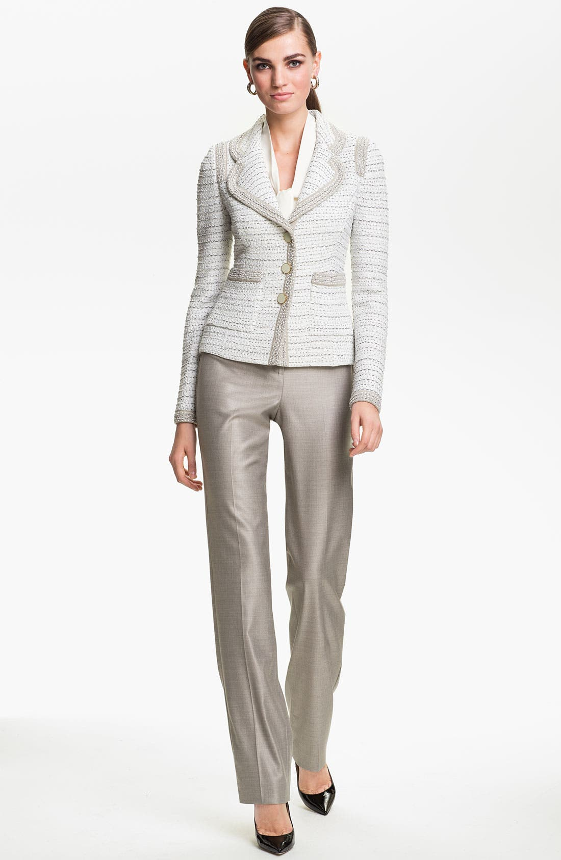 Alternate Image 2  - St. John Collection 'Diana' Straight Leg Mélange Twill Pants