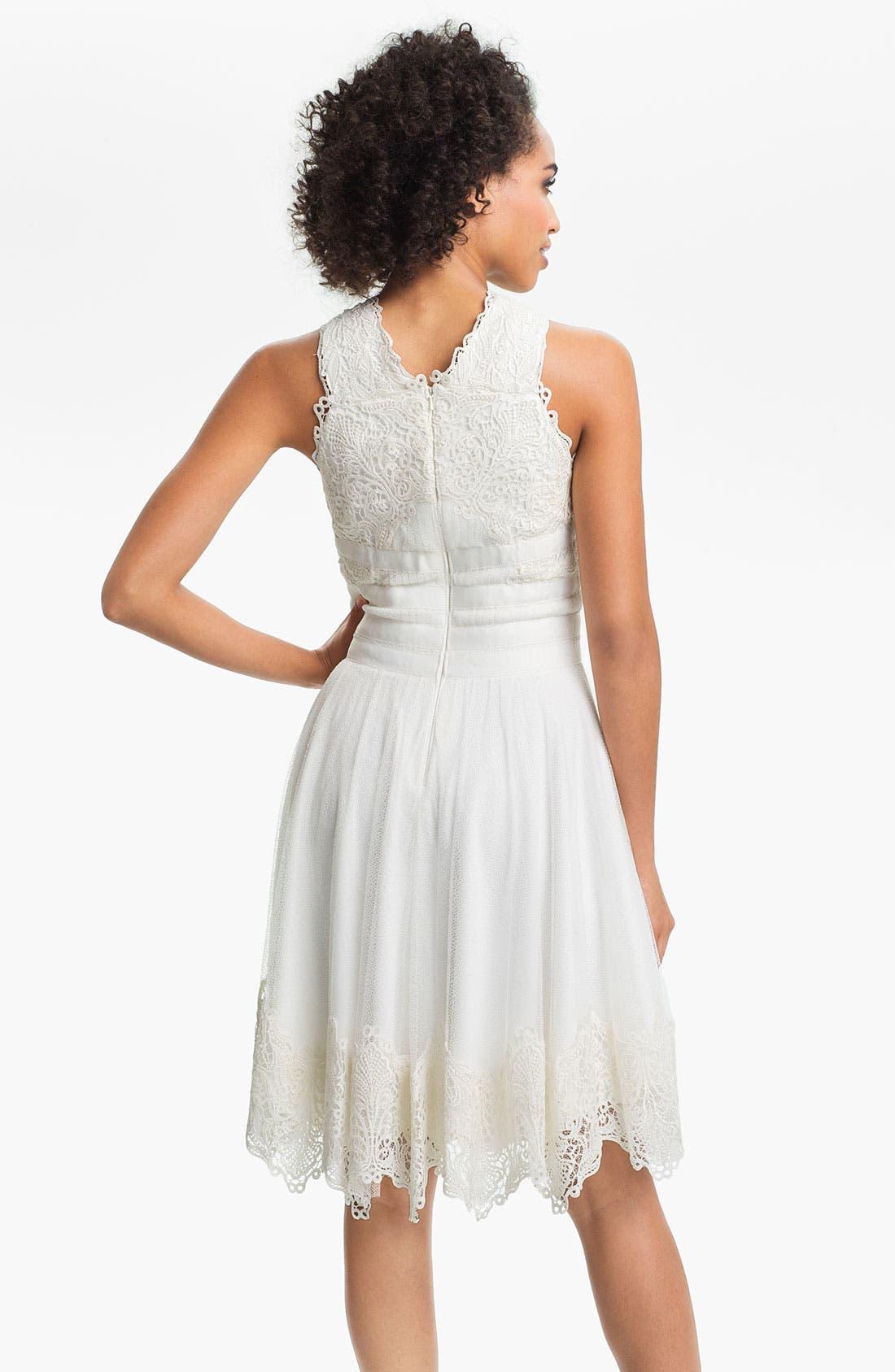 Alternate Image 2  - Tadashi Shoji V-Strap Lace & Tulle Handkerchief Dress