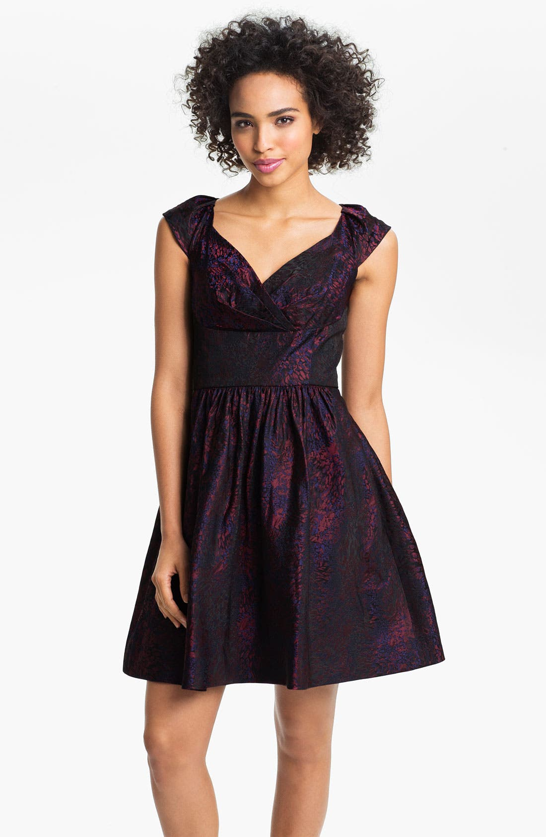 Main Image - Suzi Chin for Maggy Boutique Cap Sleeve Brocade Fit & Flare Dress