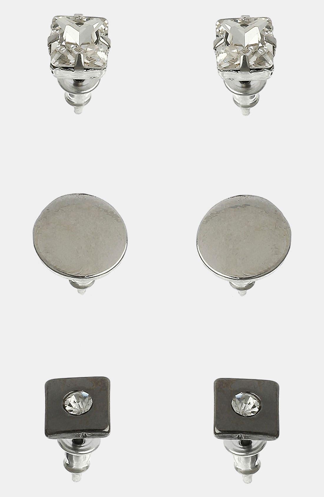 Alternate Image 1 Selected - Topman Rhinestone Stud Earrings (Set of 3)