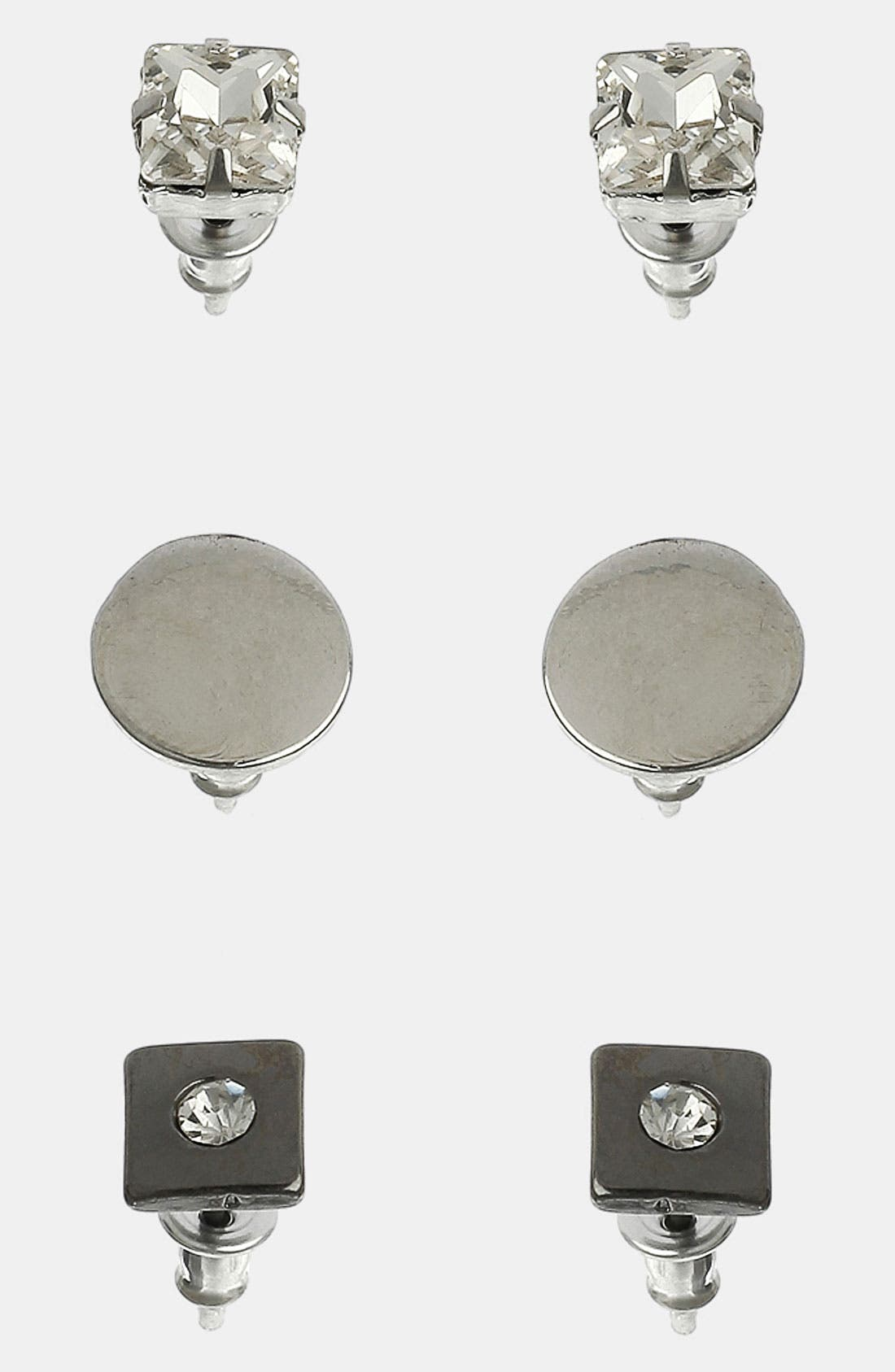 Main Image - Topman Rhinestone Stud Earrings (Set of 3)