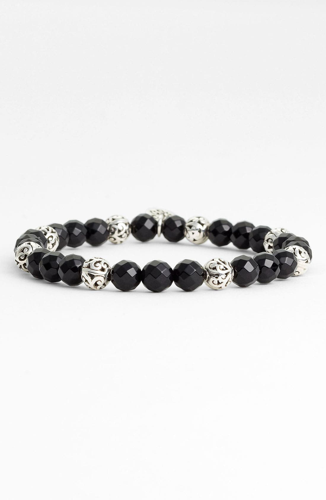 Main Image - Lois Hill Onyx & Silver Bead Stretch Bracelet