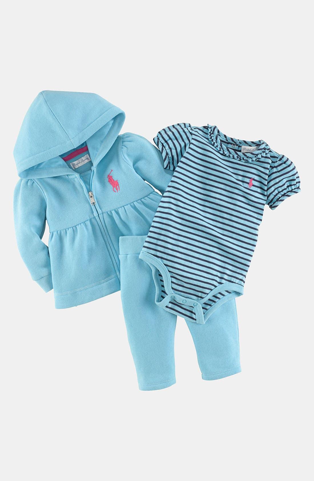 Alternate Image 2  - Ralph Lauren Fleece Hoodie, Bodysuit & Pants (Baby Girls)
