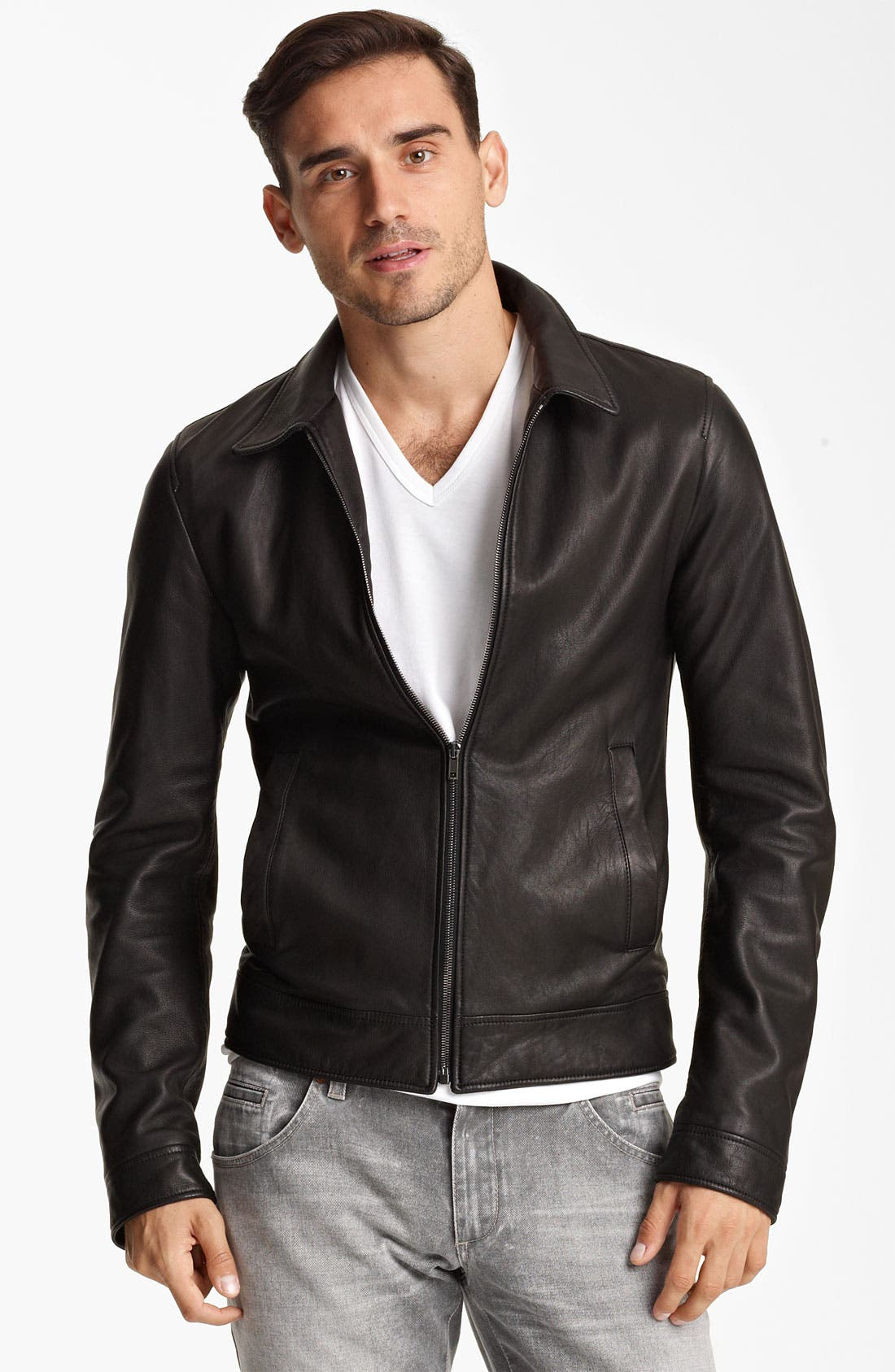 Alternate Image 1 Selected - Dolce&Gabbana Leather Biker Jacket