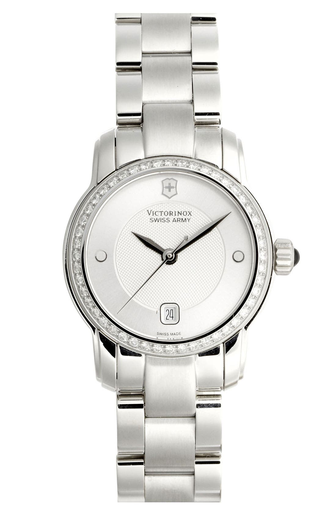 Alternate Image 1 Selected - Victorinox Swiss Army® 'Vivante' Round Diamond Case Bracelet Watch, 28mm