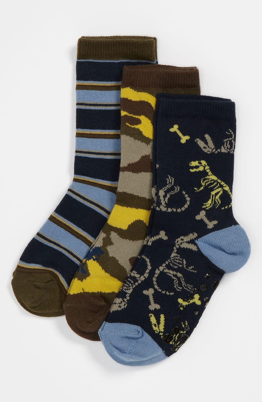 Alternate Image 1 Selected - Nordstrom 'Fossil' Crew Socks (3-Pack) (Walker, Toddler & Little Kid)
