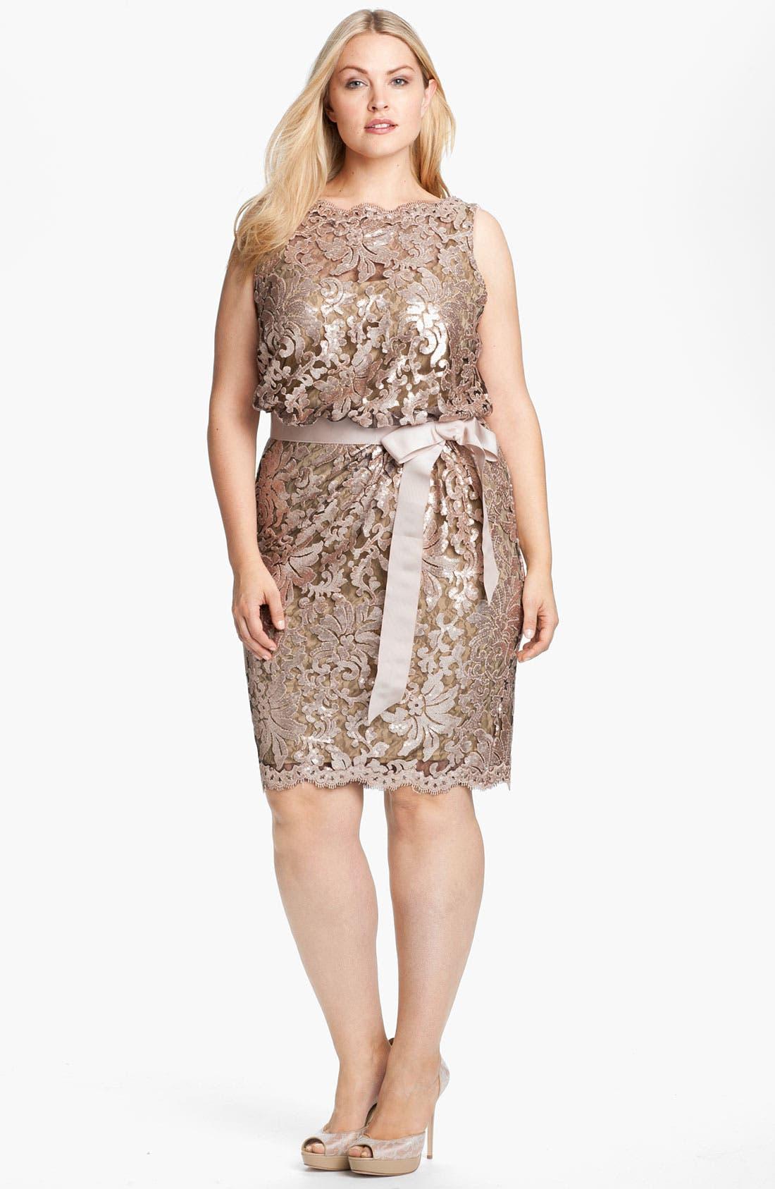 Main Image - Tadashi Shoji Lace Overlay Dress (Plus Size)