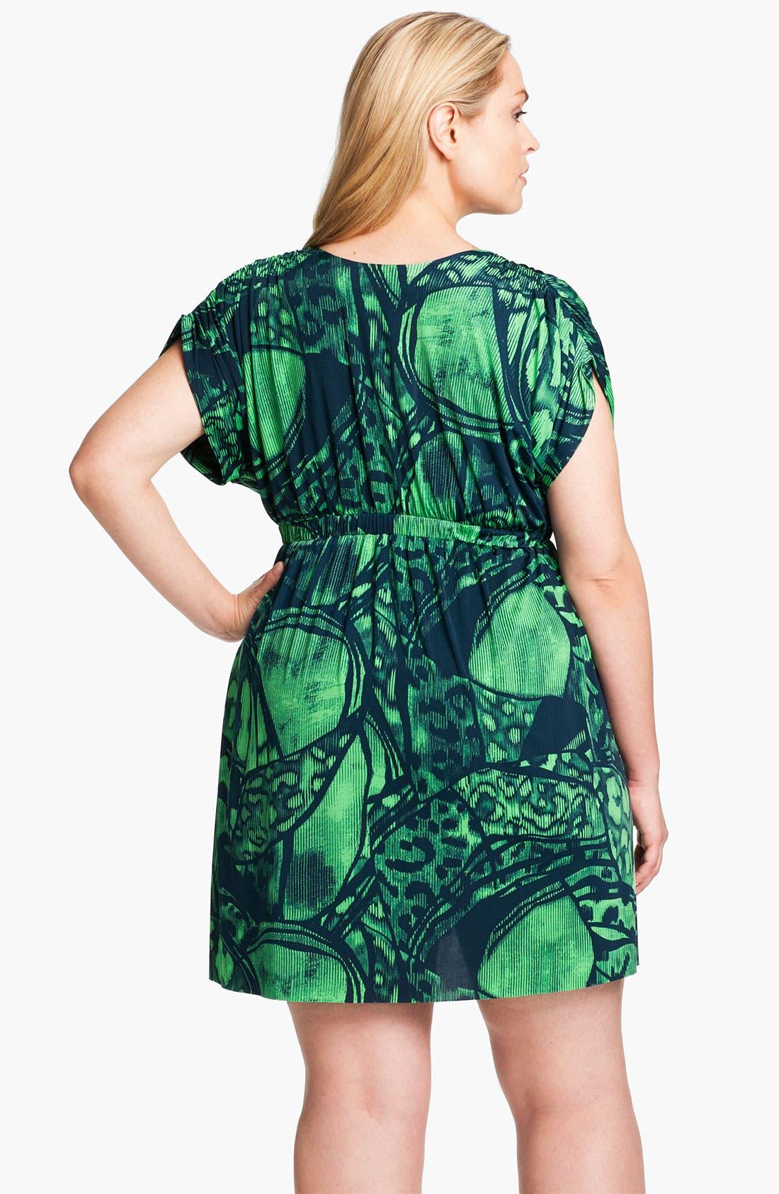 Alternate Image 2  - Tbags Los Angeles Short Sleeve Surplice Knit Dress (Plus)