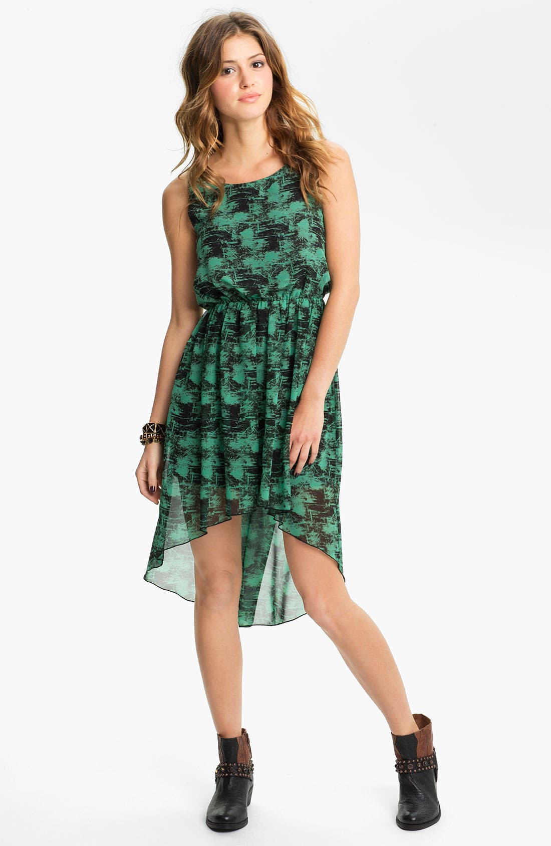 Main Image - Soprano High/Low Print Chiffon Dress (Juniors)