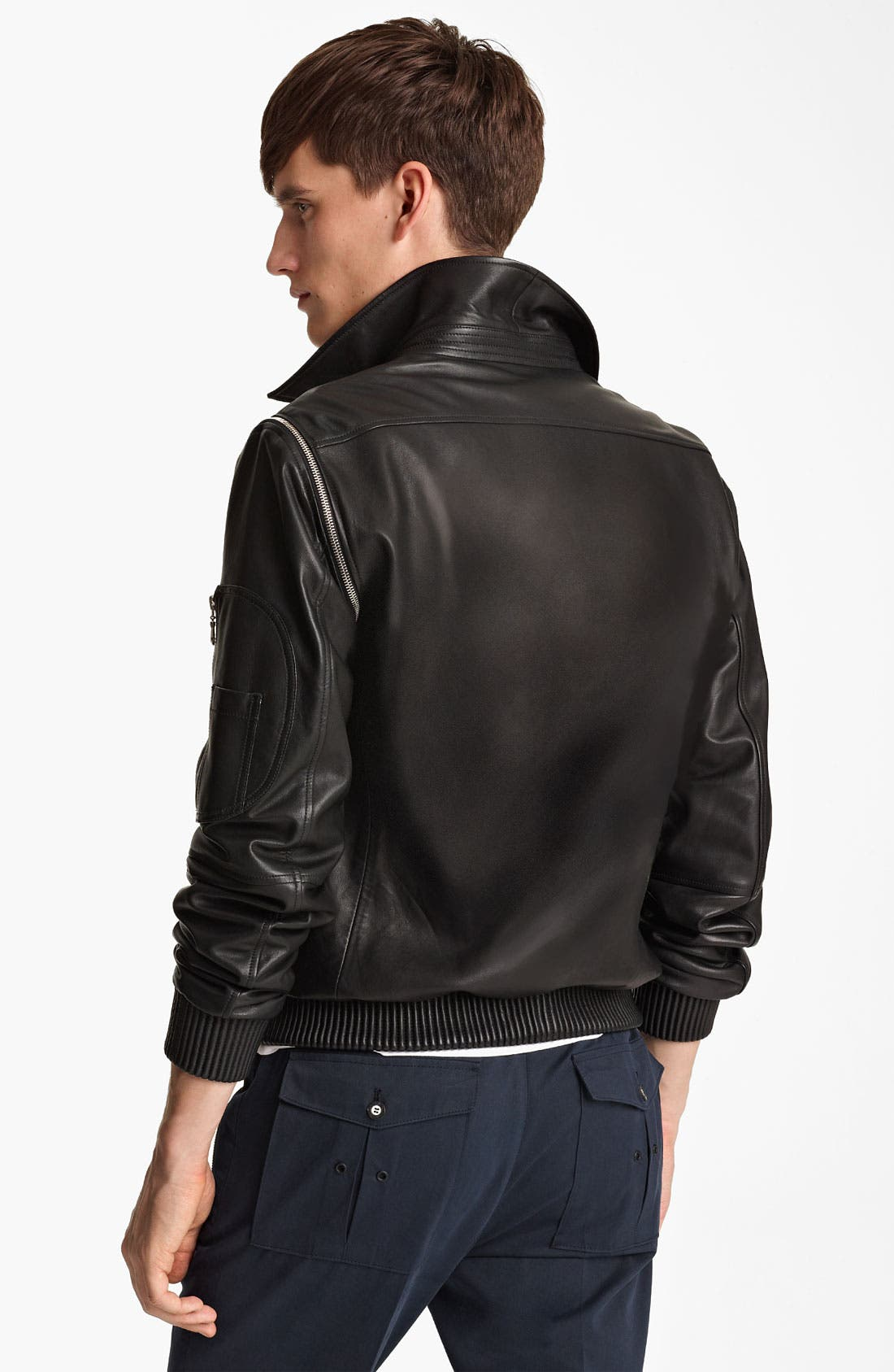 Alternate Image 2  - KENZO Leather Jacket with Removable Sleeves