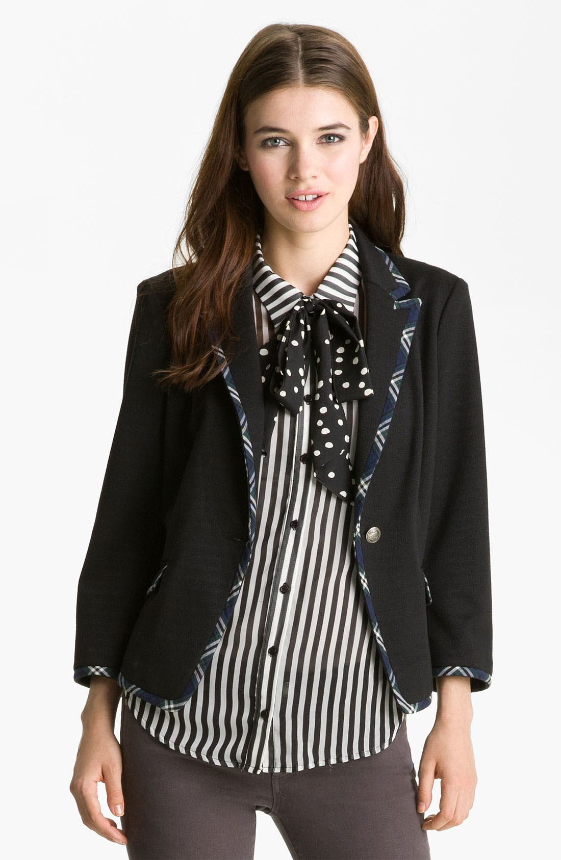 Alternate Image 1 Selected - Gibson Preppy Plaid Trim Blazer (Petite)