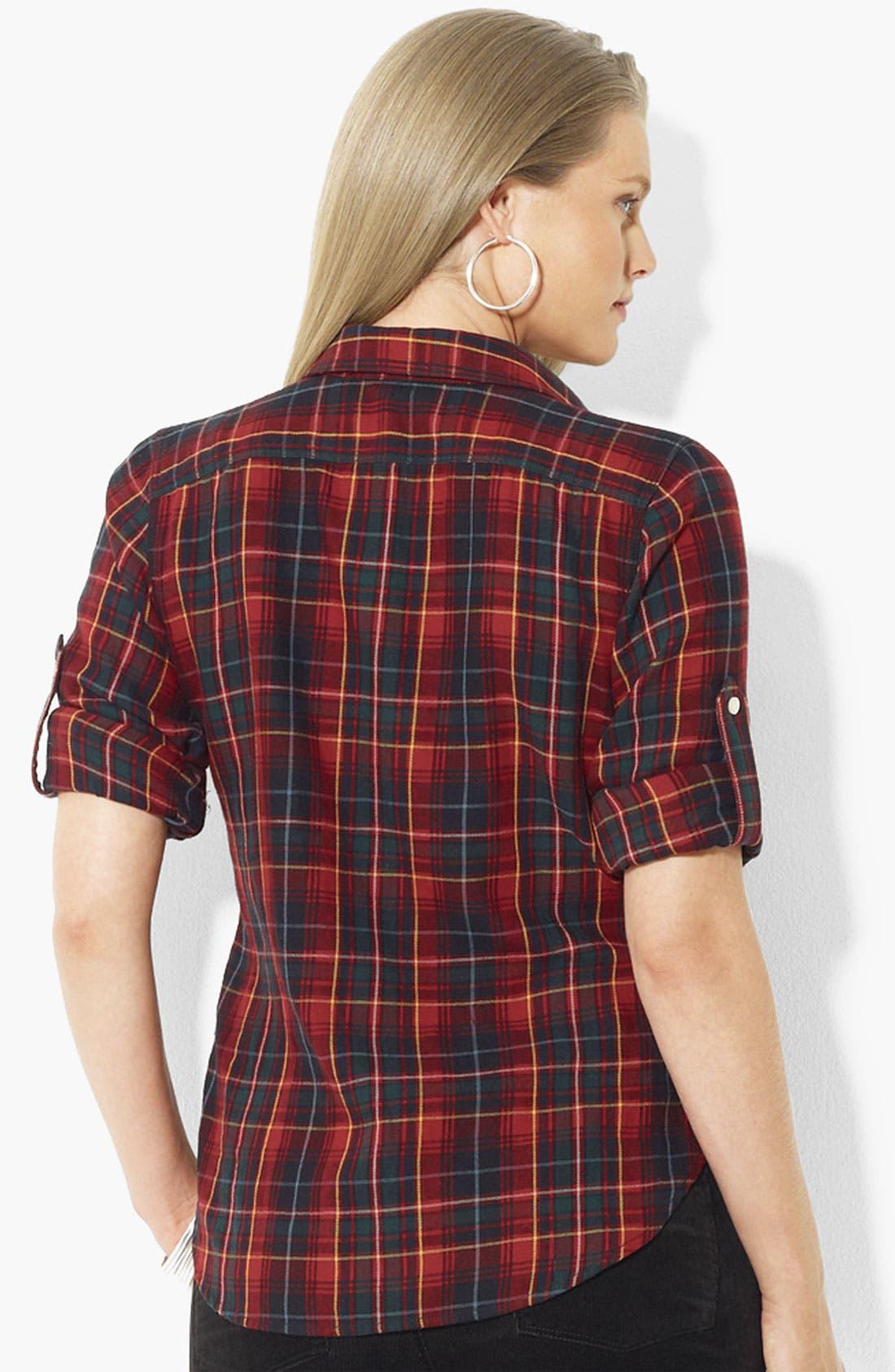 Alternate Image 2  - Lauren Ralph Lauren Roll Sleeve Plaid Shirt (Plus)