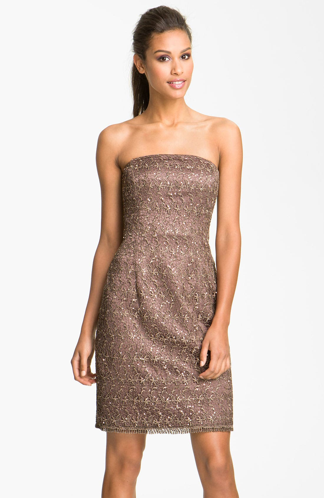 Alternate Image 1 Selected - Adrianna Papell Strapless Sequin & Lace Sheath Dress (Petite)