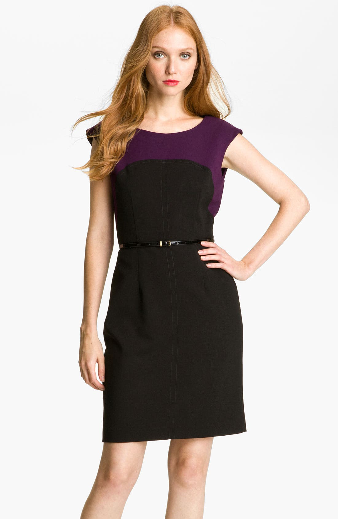 Main Image - Calvin Klein Colorblock Belted Sheath Dress (Petite)