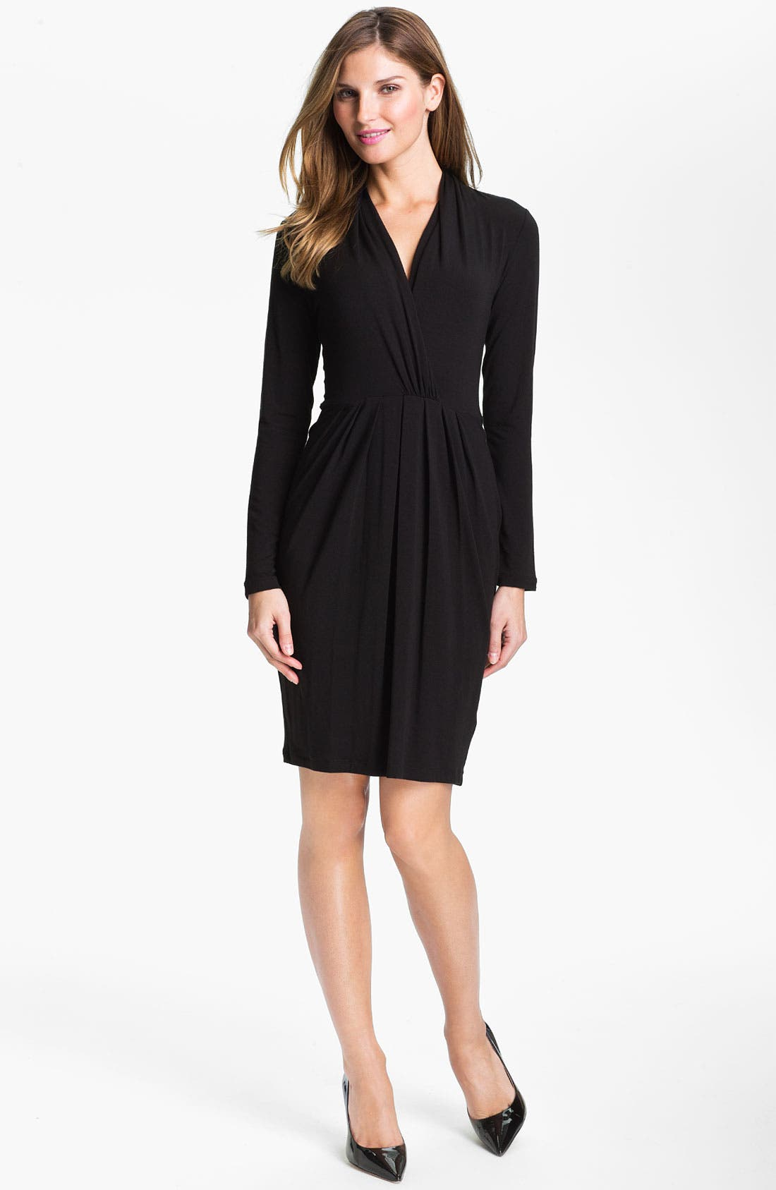 Alternate Image 1 Selected - Karen Kane Shirred Faux Wrap Dress (Online Exclusive)