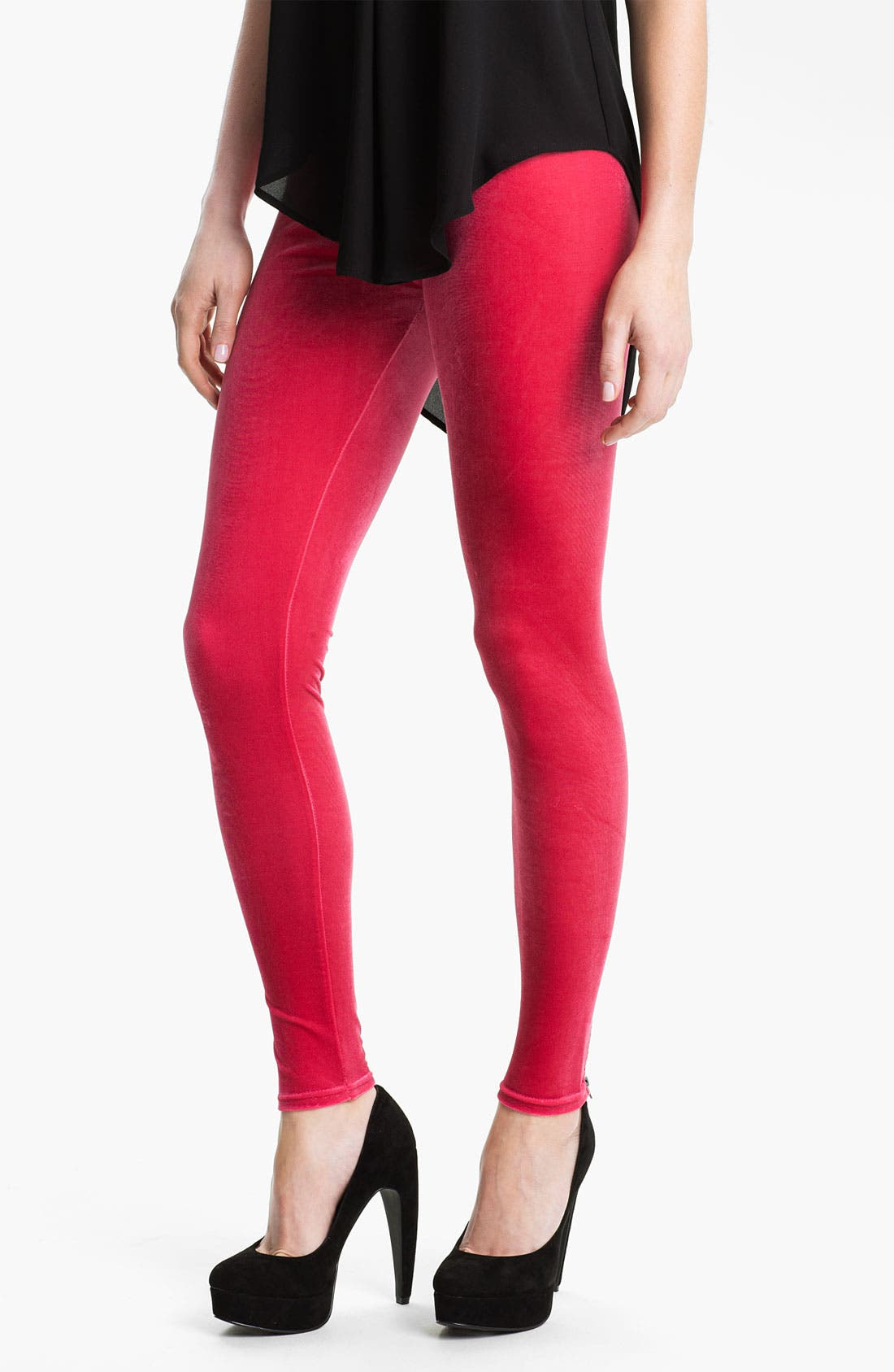 Alternate Image 1 Selected - Nordstrom Back Zip Velvet Leggings