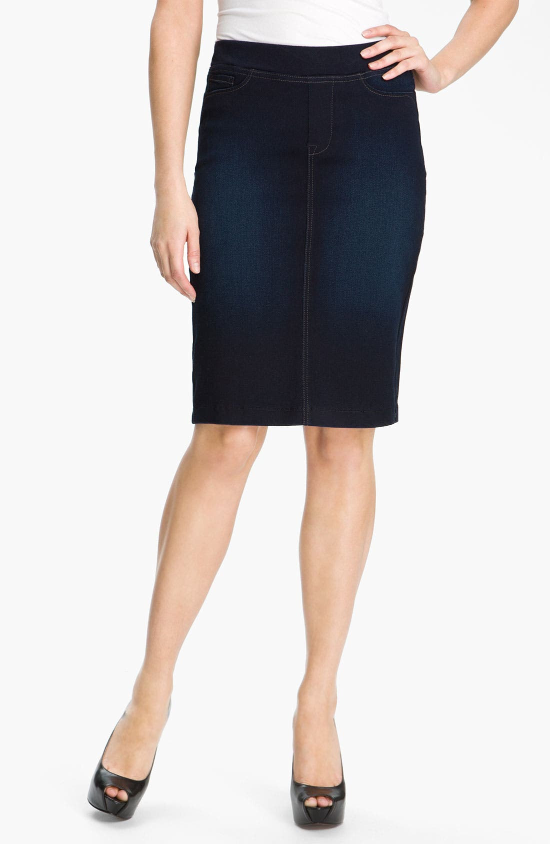 Alternate Image 1 Selected - NYDJ 'Caitlyn' Pull-On Denim Skirt (Petite)