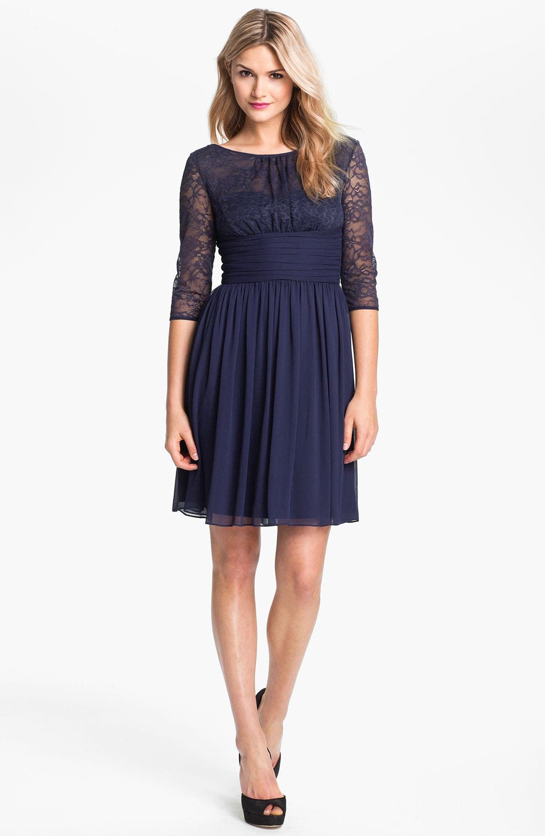 Alternate Image 1 Selected - Max & Cleo Lace Bodice Pleated Chiffon Dress