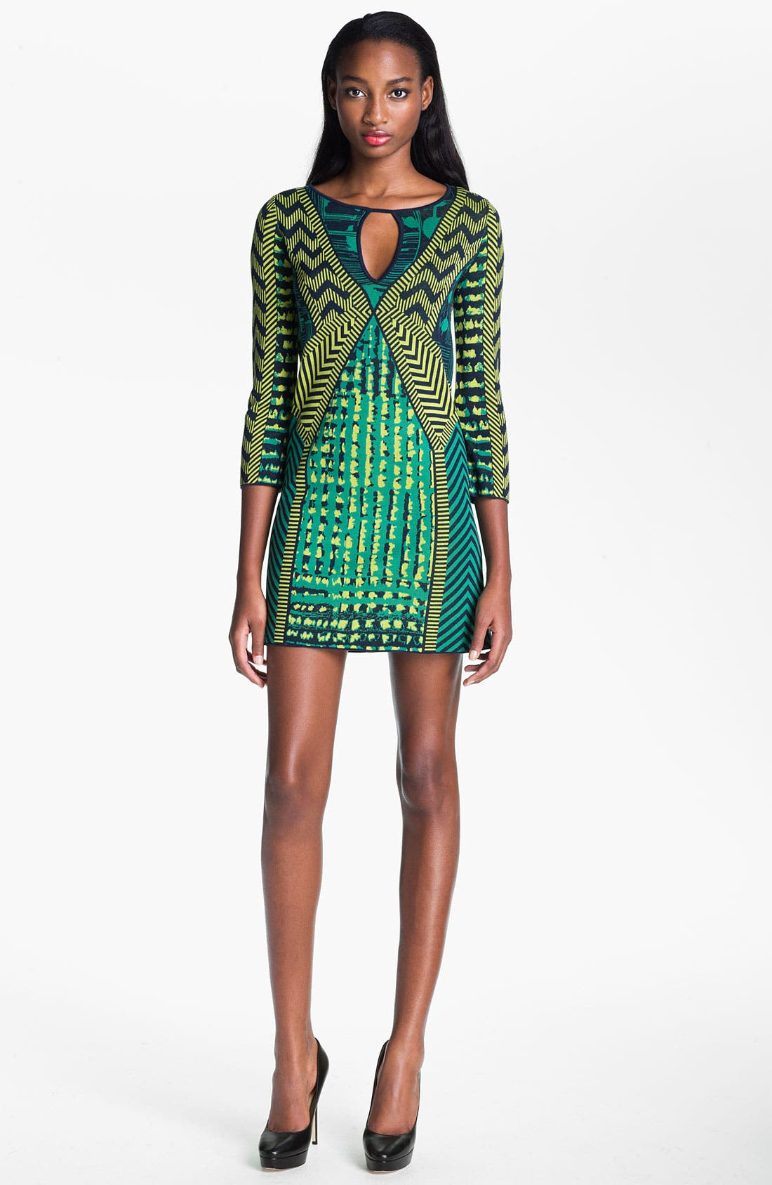 Alternate Image 1 Selected - BCBGMAXAZRIA 'Yuna' Silk Blend Sweater Dress
