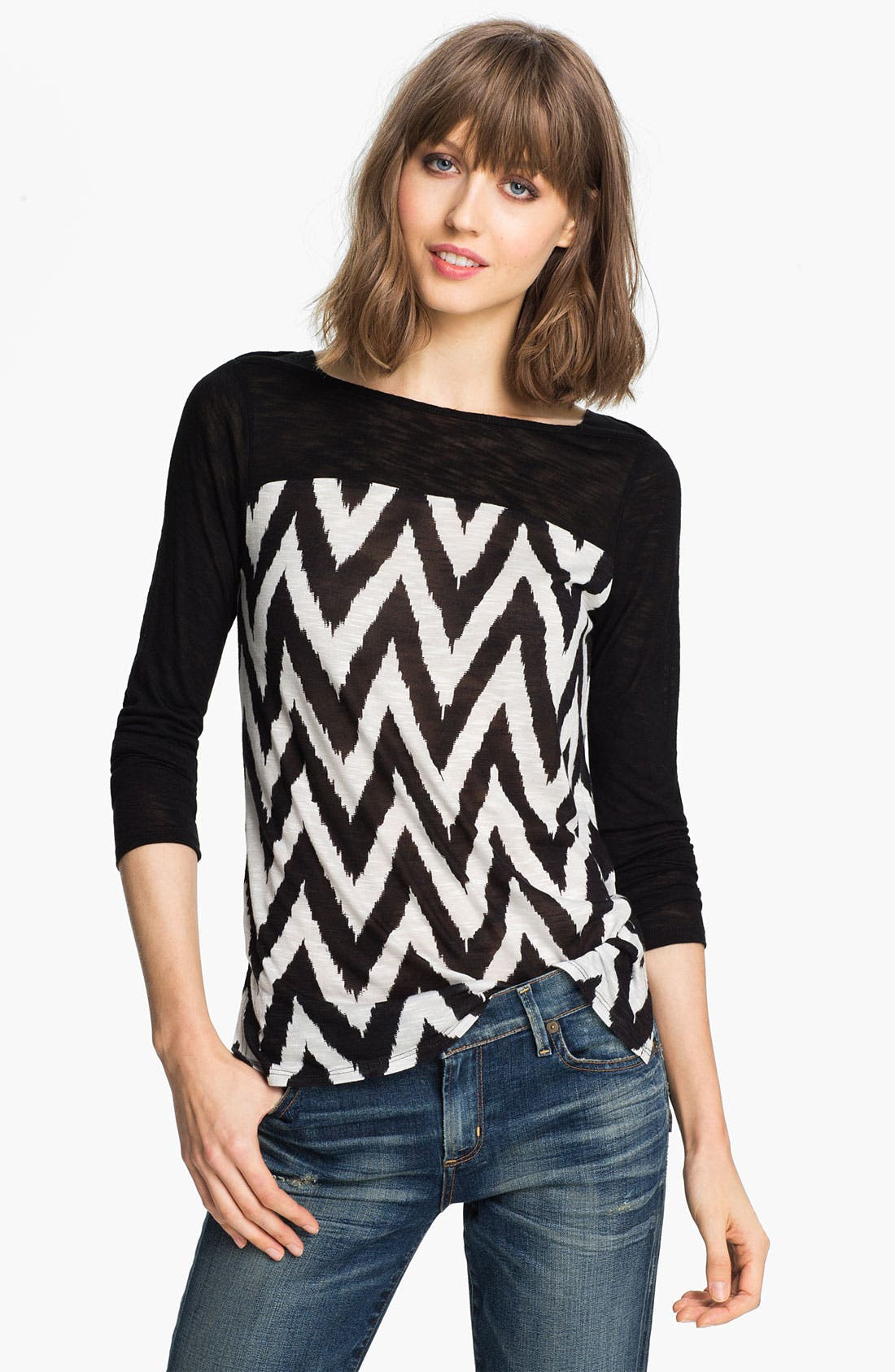 Alternate Image 1 Selected - Ella Moss 'Mazzy' Zigzag Print Top