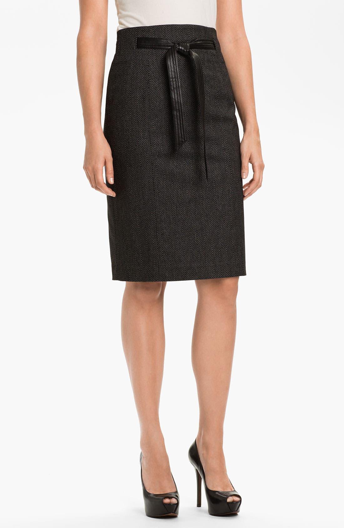 Main Image - Halogen® Faux Leather Tie Pencil Skirt (Petite)
