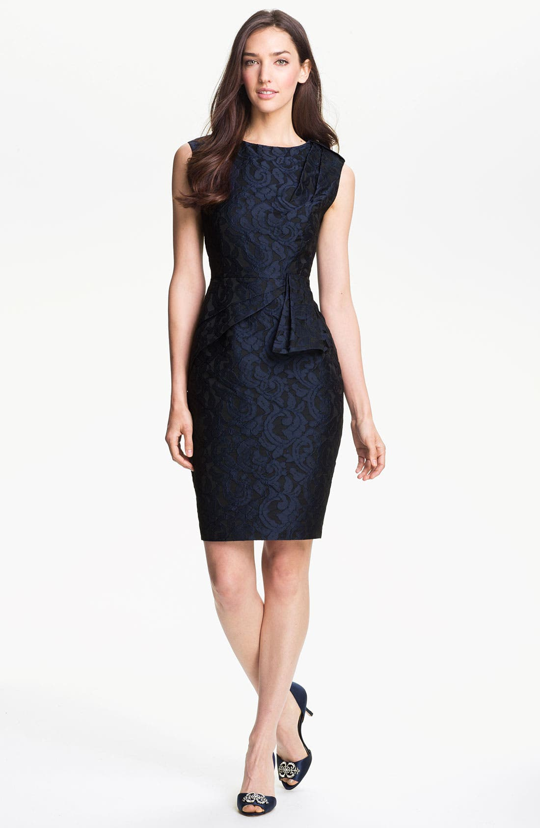 Alternate Image 1 Selected - Adrianna Papell Side Peplum Jacquard Sheath Dress