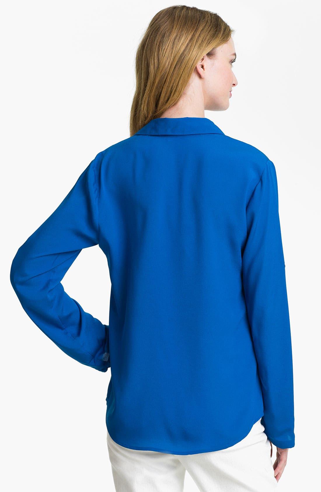 Alternate Image 2  - Calvin Klein Roll Sleeve Blouse (Online Exclusive)