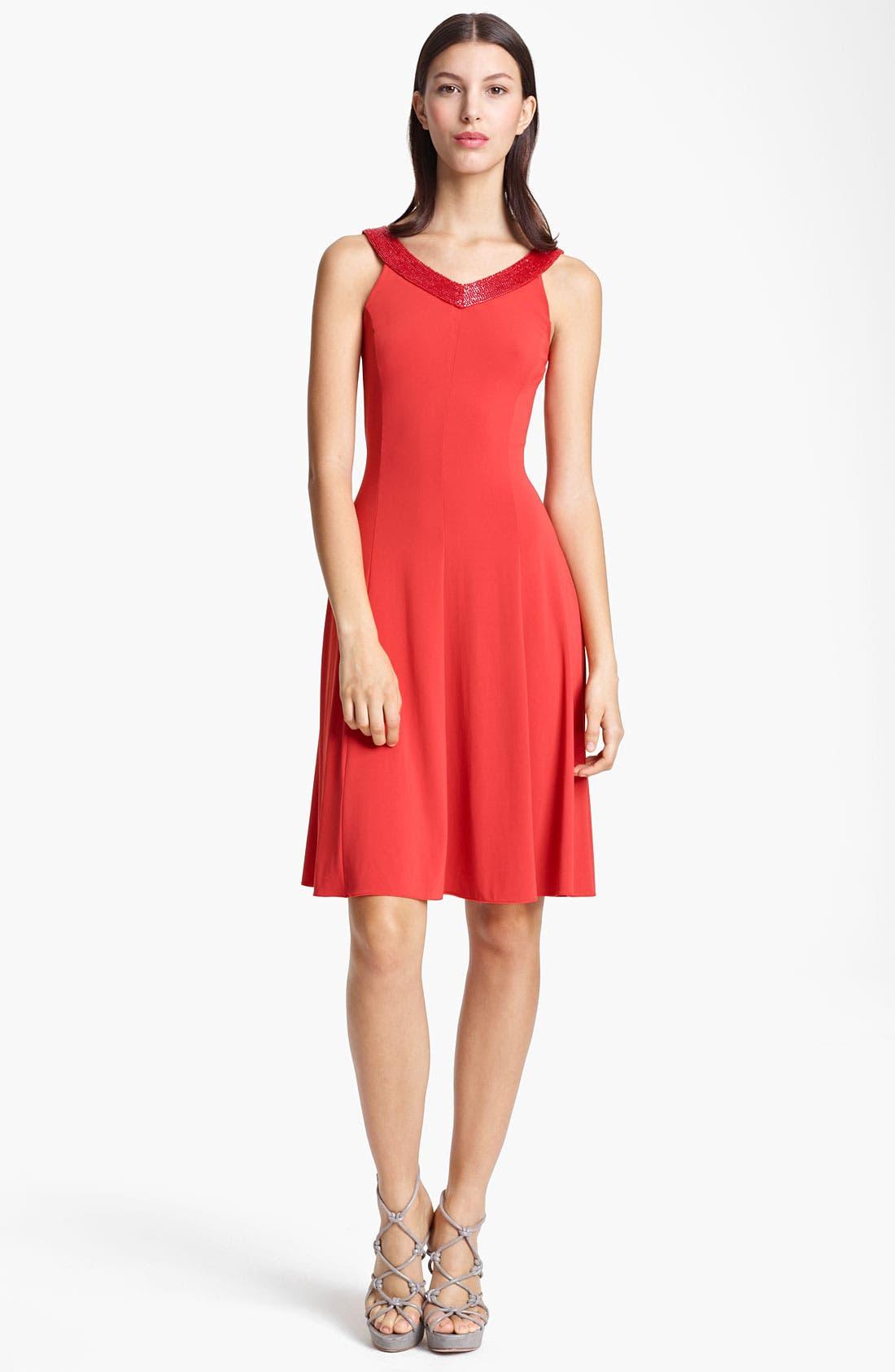 Alternate Image 1 Selected - Armani Collezioni Beaded Neckline Cocktail Dress