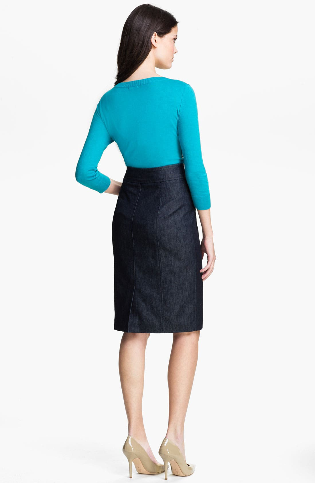 Alternate Image 5  - Halogen® Double Button Front Denim Skirt