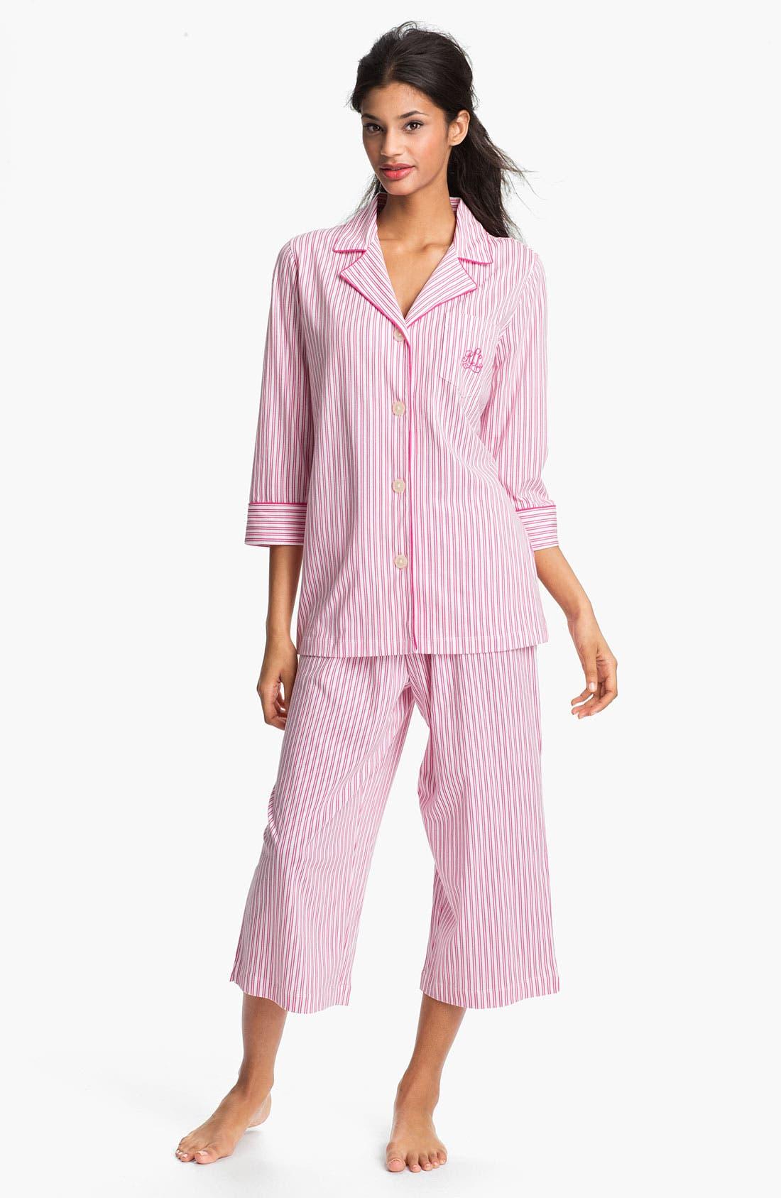 Main Image - Lauren Ralph Lauren Sleepwear Cropped Stripe Pajamas