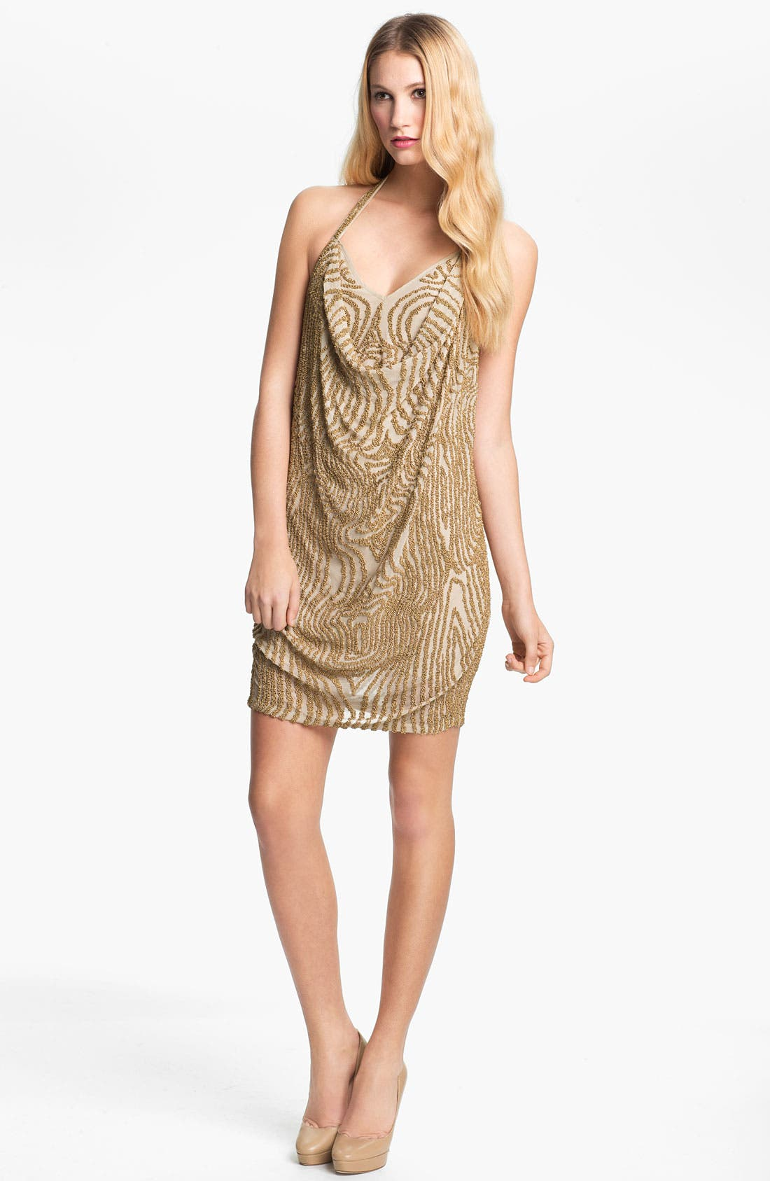 Main Image - Haute Hippie Beaded Silk Halter Dress