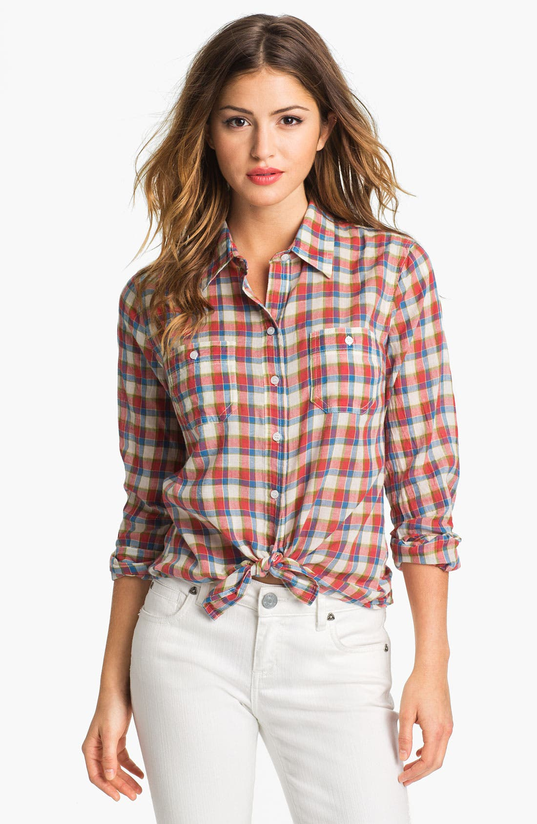 Alternate Image 1 Selected - Sandra Ingrish Two Pocket Plaid Shirt