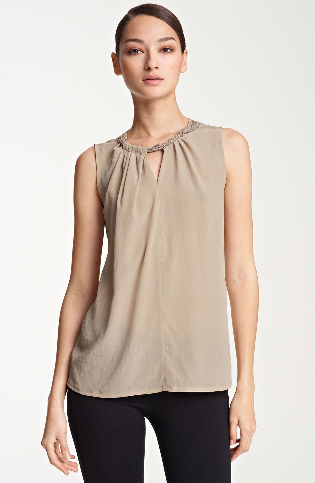 Main Image - Fabiana Filippi Embellished Neck Silk Tank