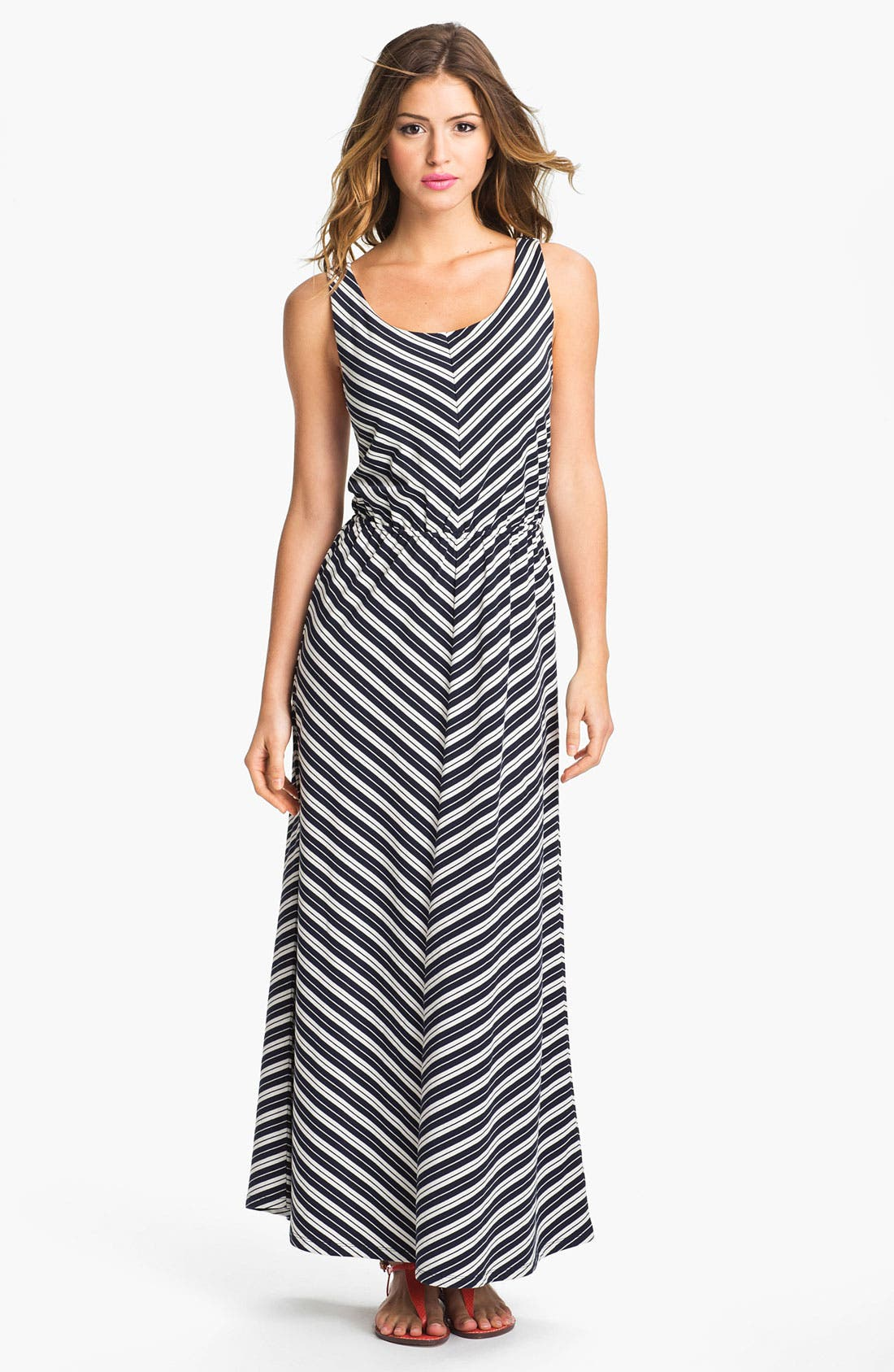 Alternate Image 1 Selected - Olive & Oak Chevron Stripe Maxi Dress