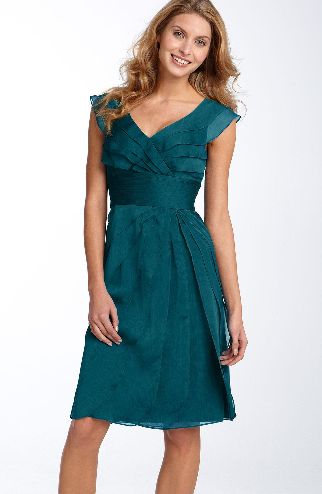Alternate Image 1 Selected - Adrianna Papell Tiered Chiffon Dress (Regular & Petite)