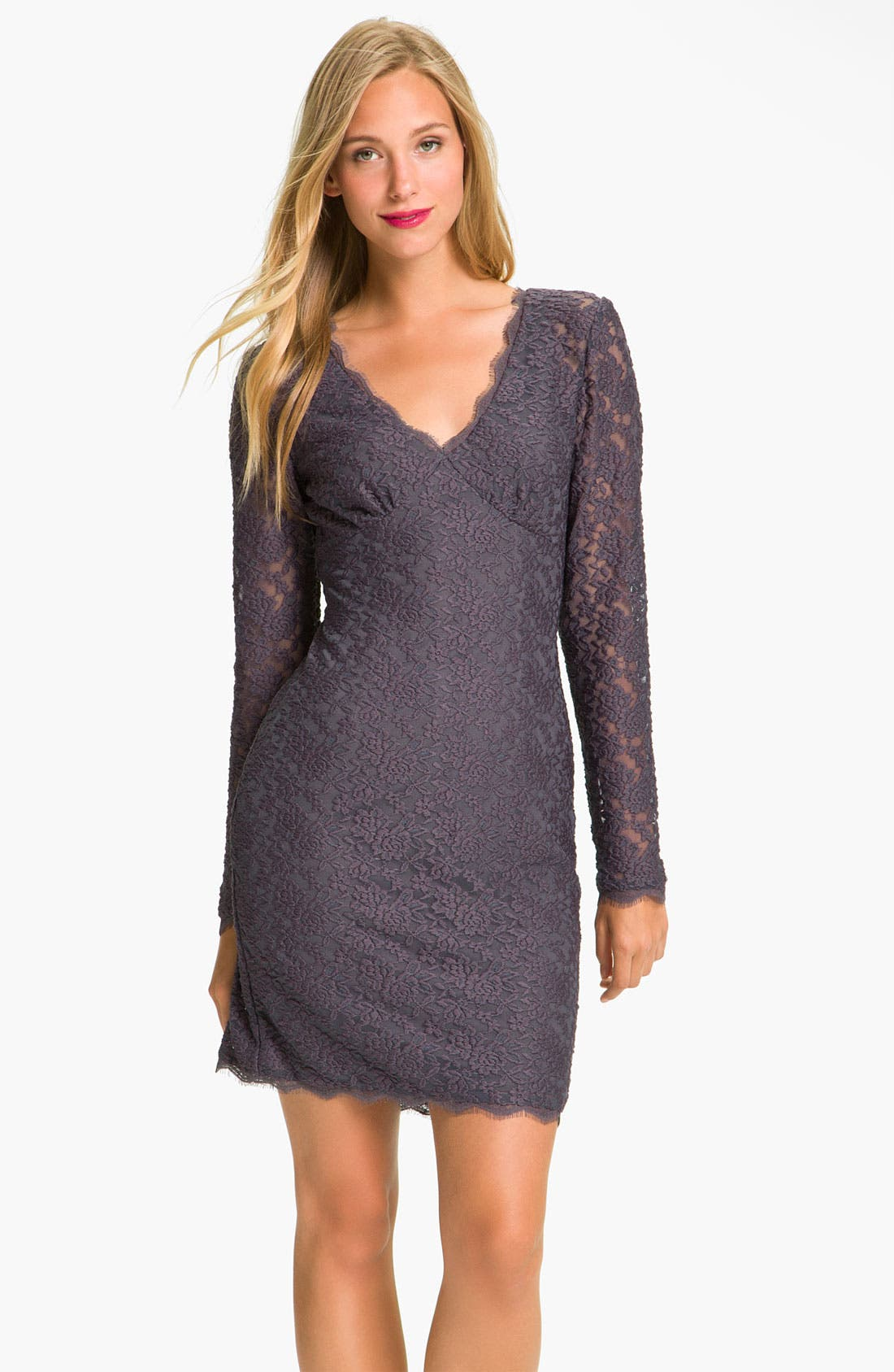 Alternate Image 1 Selected - Adrianna Papell Lace Overlay Sheath Dress (Petite)