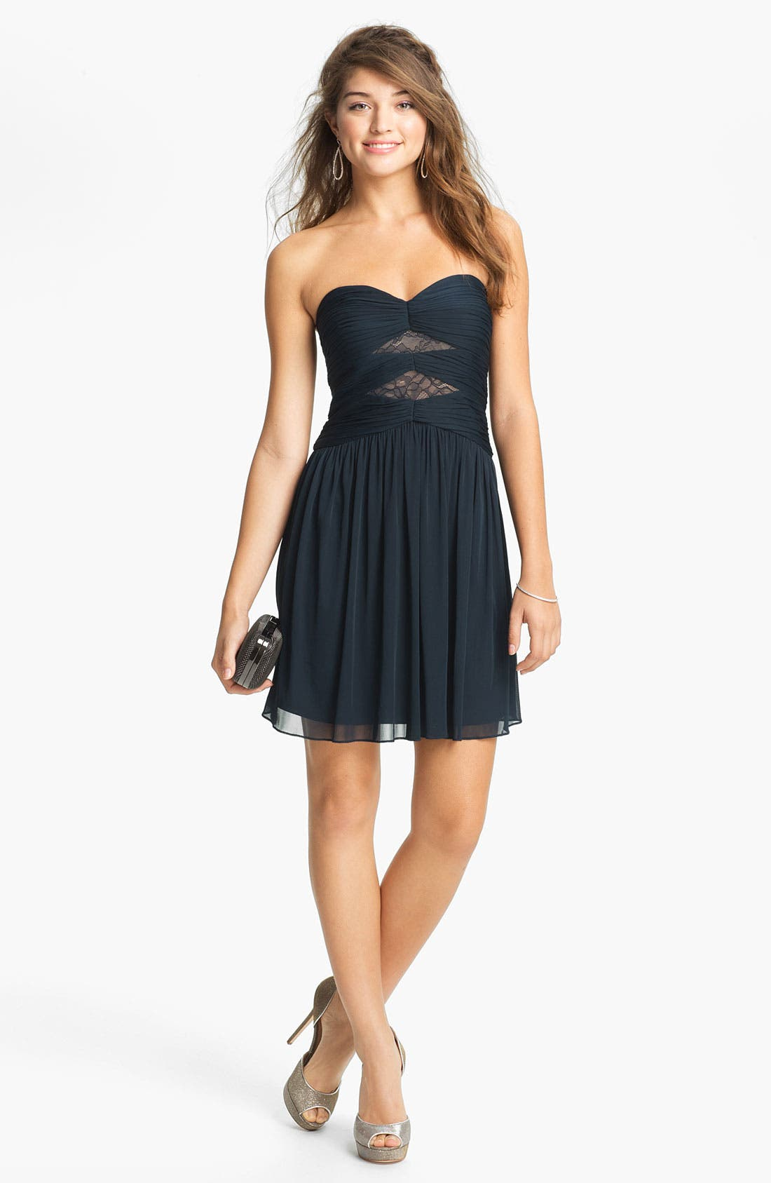 Alternate Image 1 Selected - Max & Cleo Strapless Mesh Fit & Flare Dress
