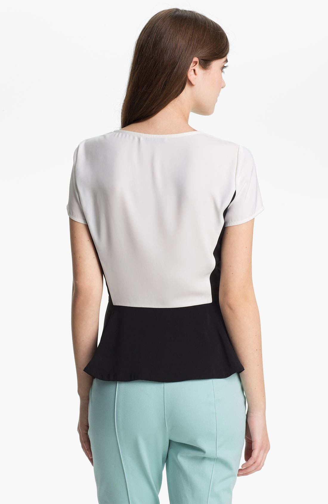 Alternate Image 2  - DKNYC Colorblock Peplum Top