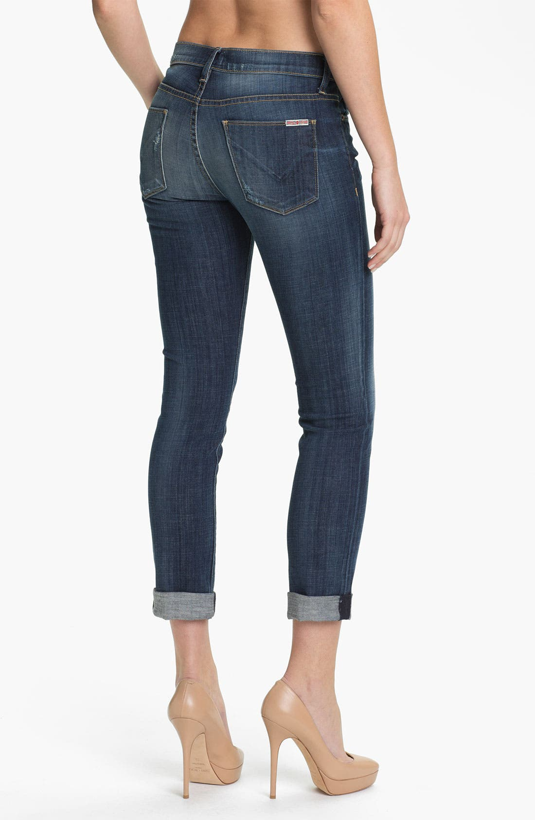 Alternate Image 2  - Hudson Jeans 'Tilda' Cuffed Straight Leg Stretch Jeans (Blue)