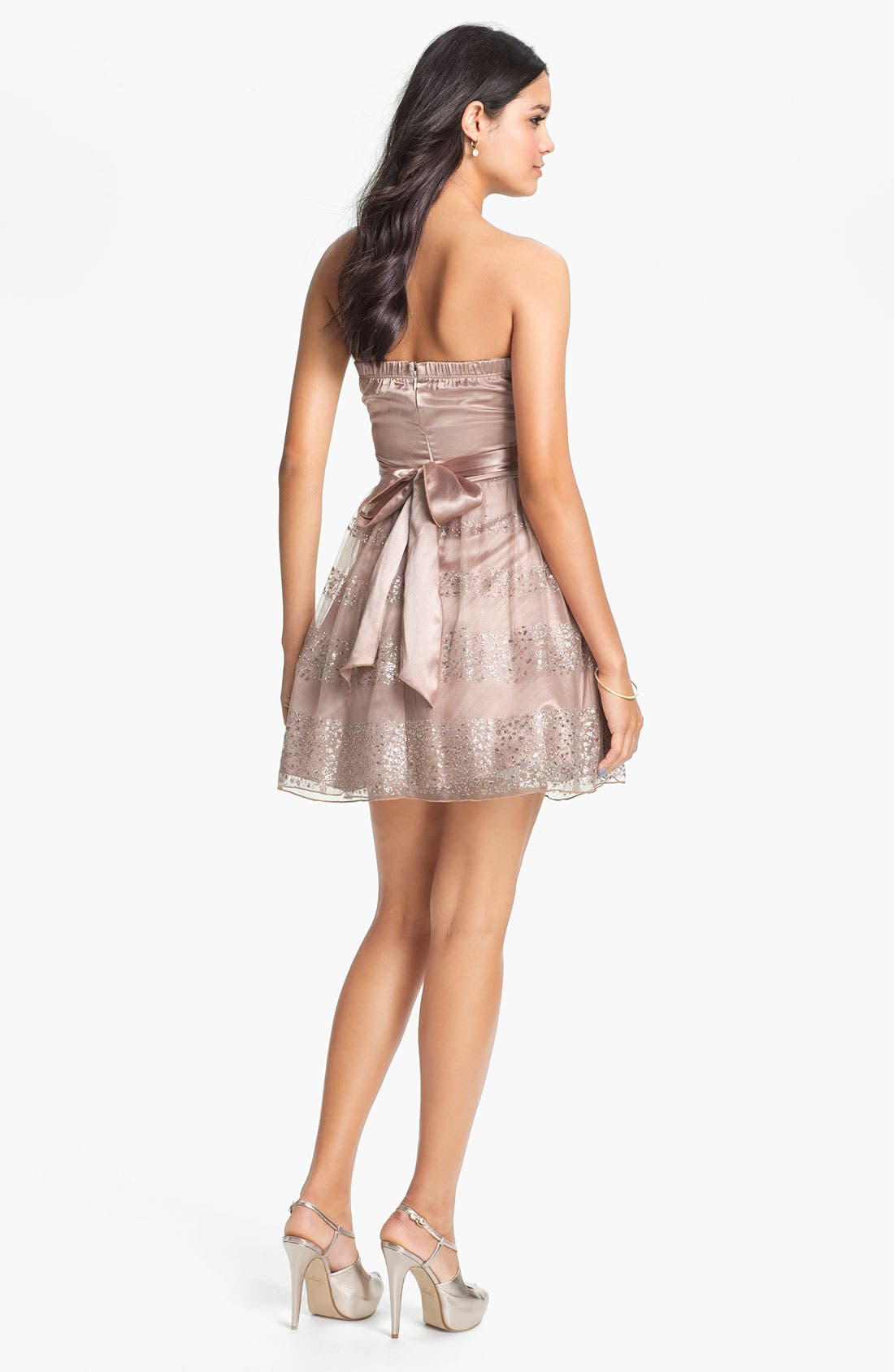 Alternate Image 2  - Trixxi Glitter Fit & Flare Dress (Juniors)