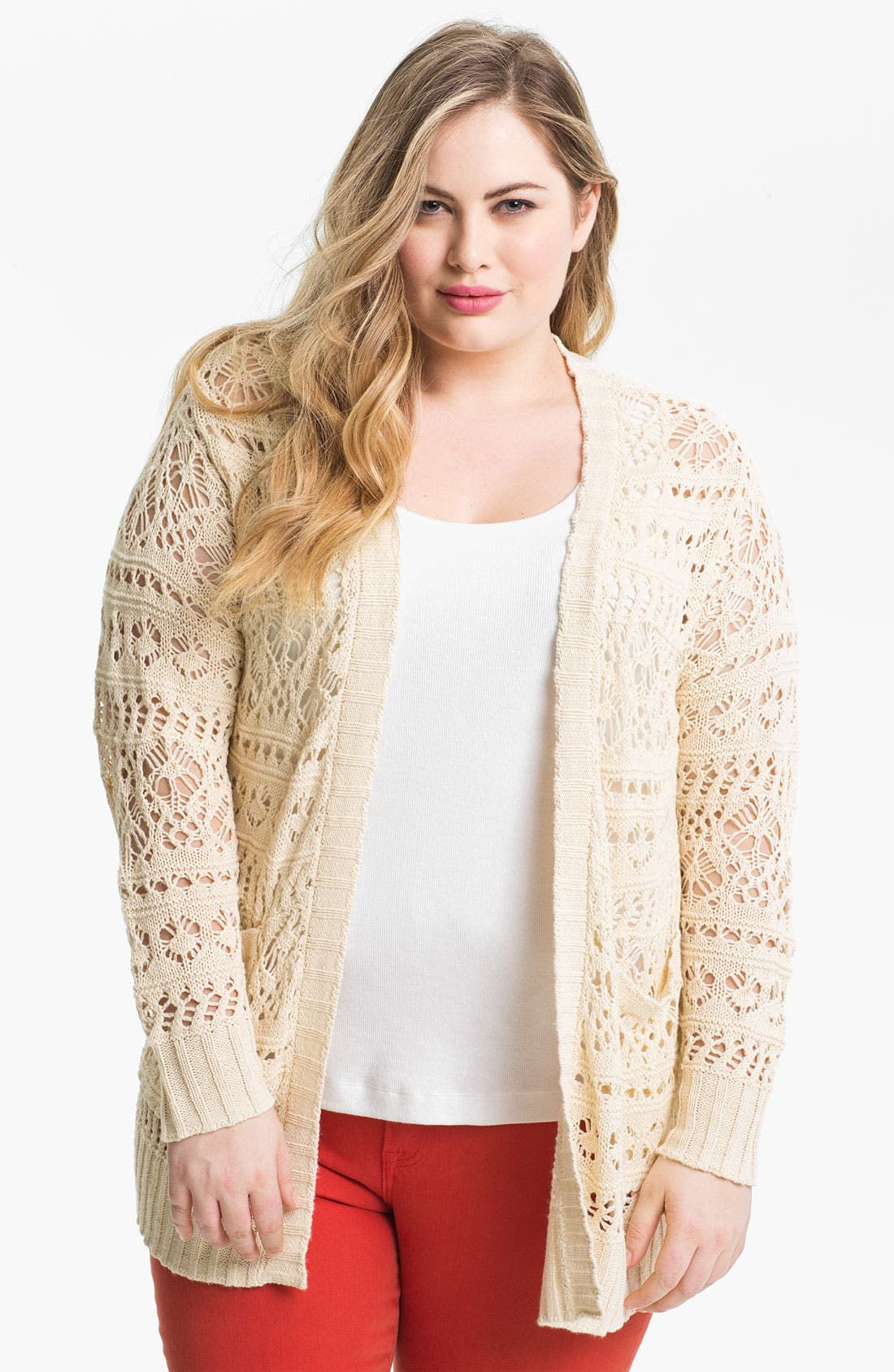 Alternate Image 1 Selected - Lucky Brand 'Rosa' Open Cardigan (Plus)