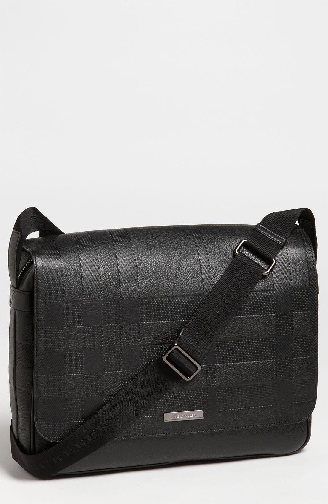 Alternate Image 1 Selected - Burberry 'Emmett' Check Embossed Leather Messenger Bag