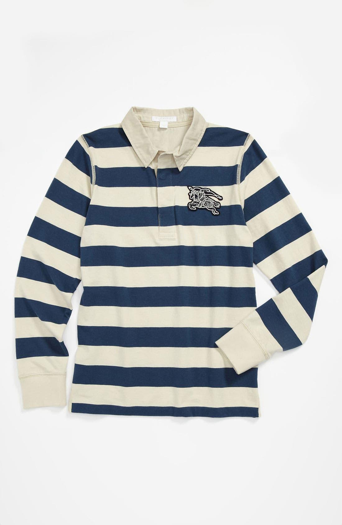Alternate Image 1 Selected - Burberry 'Mini Beecroft' Stripe Polo Shirt (Little Boys & Big Boys)