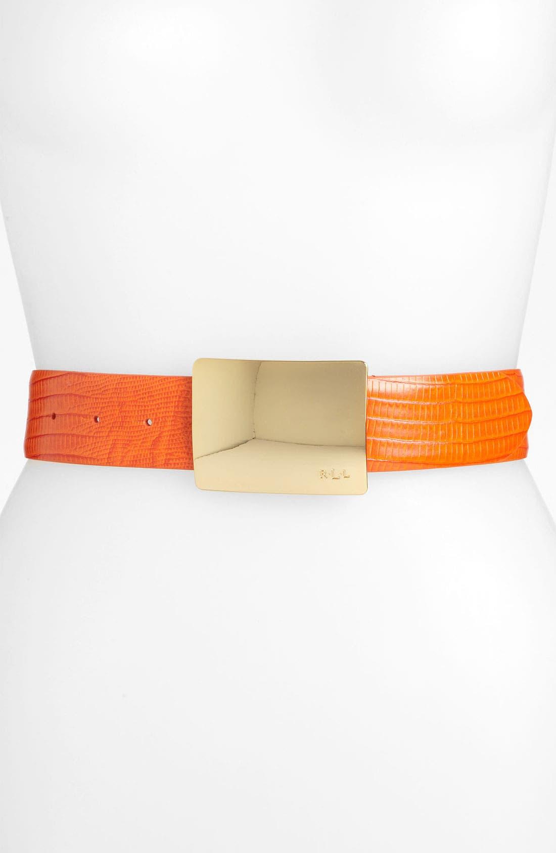 Main Image - Lauren Ralph Lauren Lizard Embossed Belt