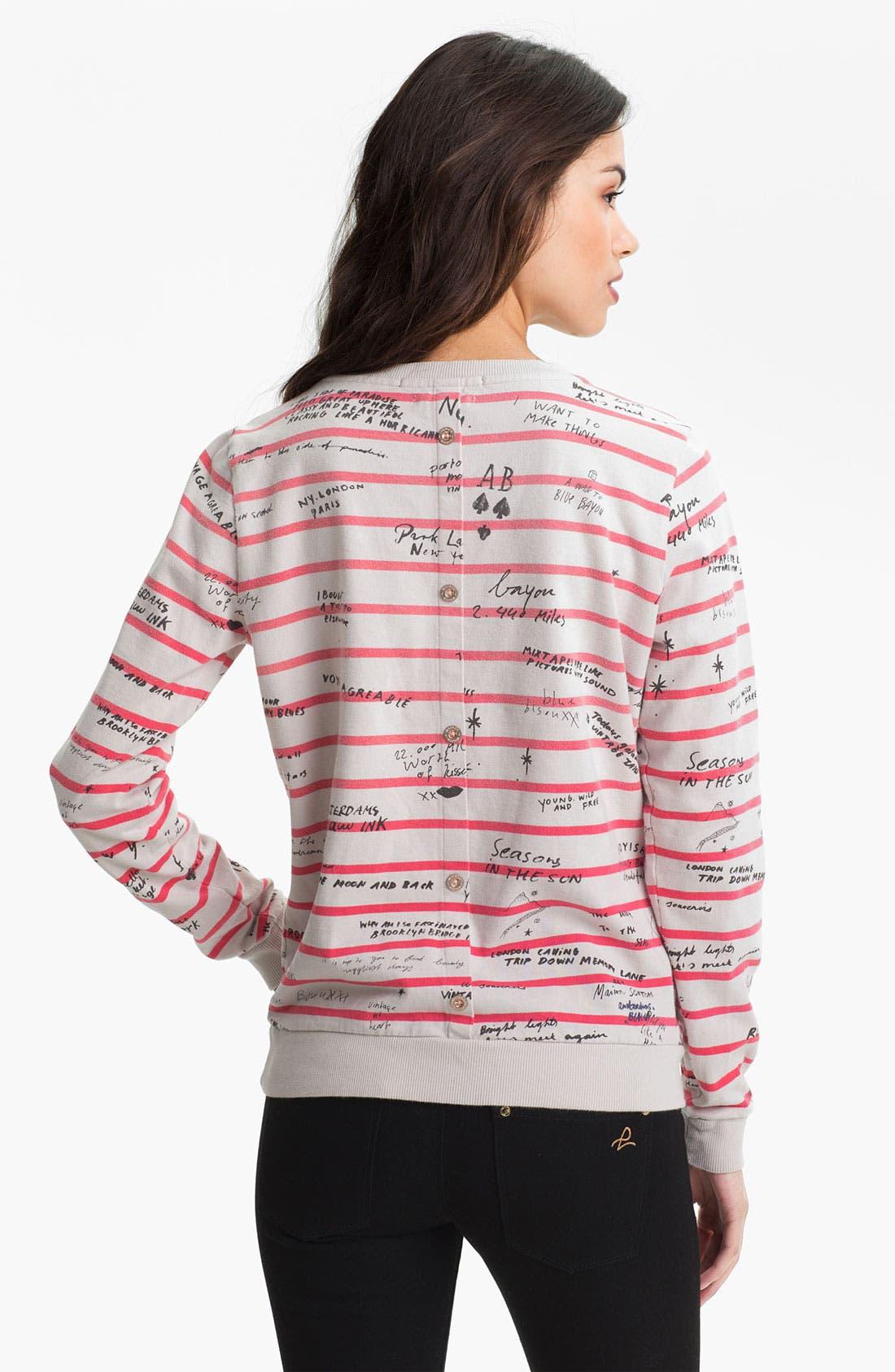 Alternate Image 2  - Maison Scotch Yearbook Print Stripe Sweatshirt