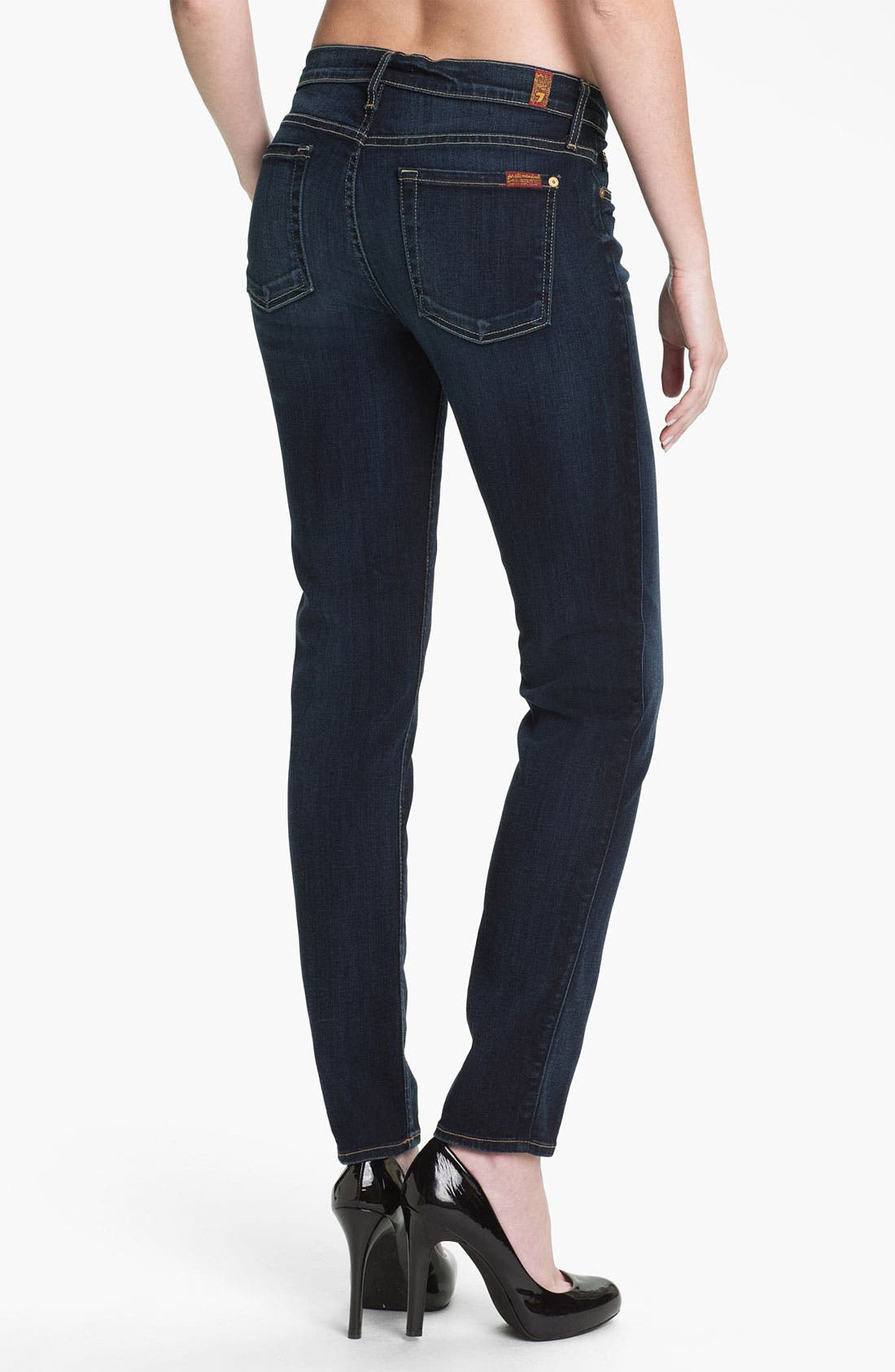 Alternate Image 2  - 7 For All Mankind® 'The Slim Cigarette' Skinny Leg Jeans (Black Night)