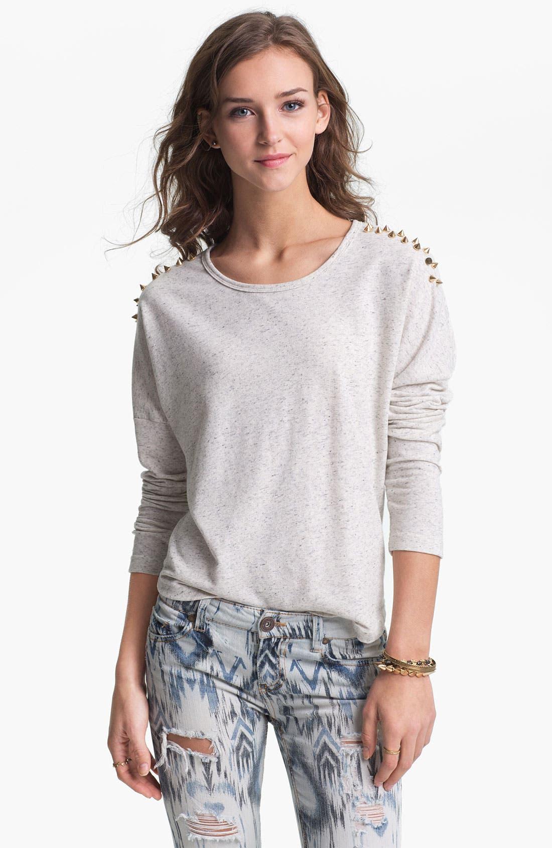 Main Image - Double Zero Stud Shoulder Sweatshirt (Juniors)