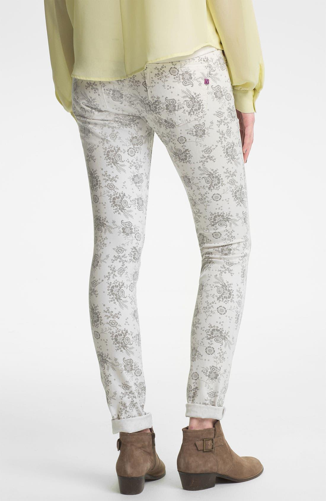 Alternate Image 1 Selected - Vigoss Paisley Print Skinny Jeans (Juniors)
